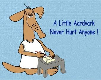A Little Aardvark Cartoon Fridge Magnet 7cm by 4.5cm,