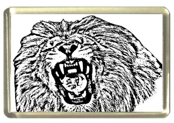 Lion Fridge Magnet 7cm by 4.5cm,
