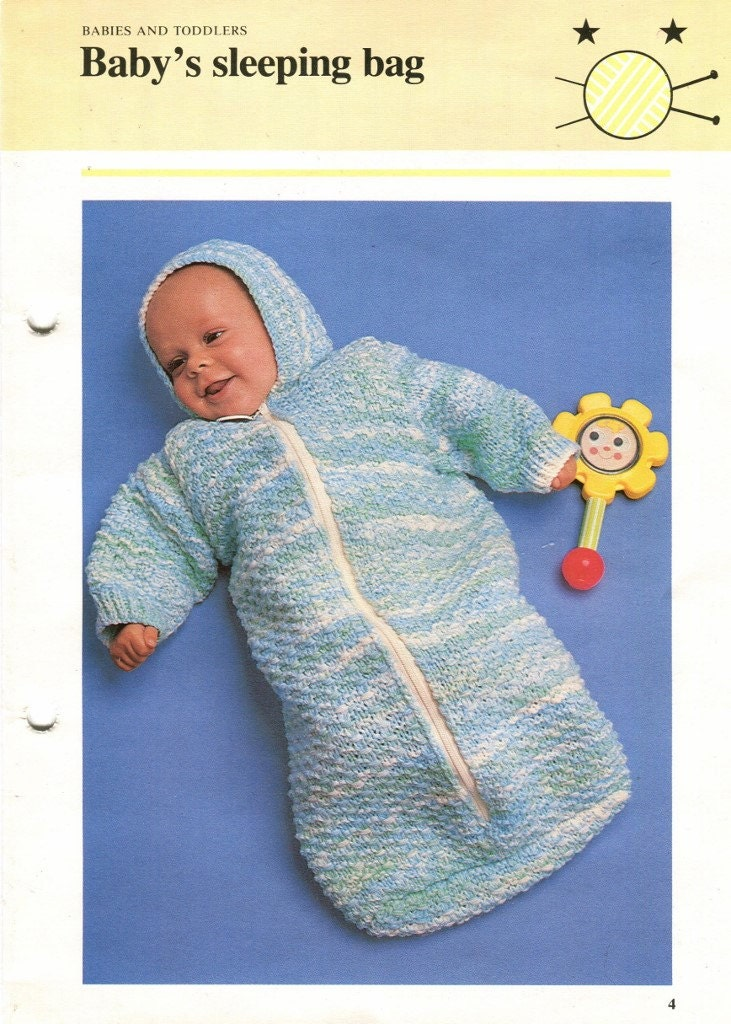 Knitting Pattern Sleeping Bag Baby : KNITTING BABY Sleeping BAG with Hood Long Sleeves & by ...