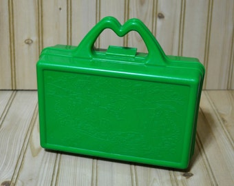 Vintage McDonald's Lunch Box  Green Plastic Collectible Happy Meal  1980s Pencil Crayon Storage