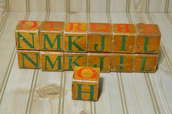 Vintage wooden abc alphabet letter blocks craft supplies for Child craft wooden blocks