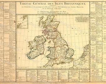 British Isles Scotland Map Large 1783 VINTAGE Antique Map of Western Europe Ireland Restoration Hardware Style wall decor historic old map
