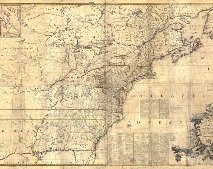 Old New England Map.15 Off Coupon On Giant Historic 1757 Wall Map Of British French
