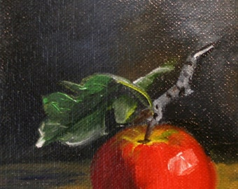 Canvas Art and Prints, Original Art,  Still Life, Apple or Red Pear, 5in. x 7in. original oil and prints available, see similar in shop