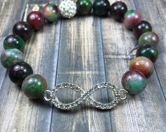 Infinity gemstone bracelet, gemstone bracelet, beaded bracelet, stretch bracelet, jewelry, gifts for her, stackable bracelet, gifts
