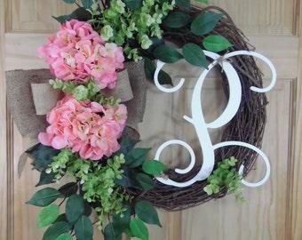 spring wreath - summerwreath - monogram wreath - Hydrangea  wreath - Initial wreath - mothers day - Grapevine wreath
