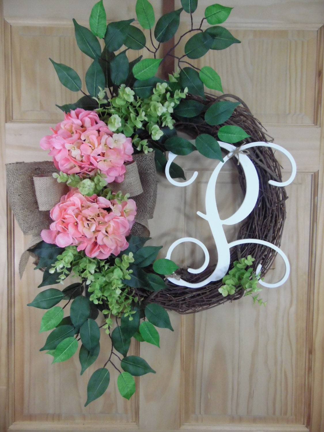 spring wreath - summerwreath - monogram wreath - Hydrangea wreath - Initial wreath - mothers day - Grapevine wreath