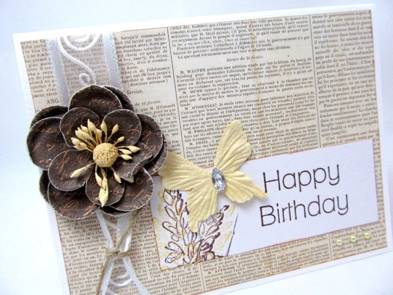 Birthday Card Happy Birthday Vintage Style Brown And