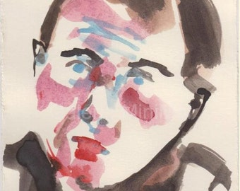 Francis Bacon - Original Watercolor Portrait Study on Paper - 4.9x6.8 inch