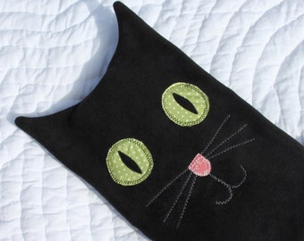 Hot water bottle cover - black cat