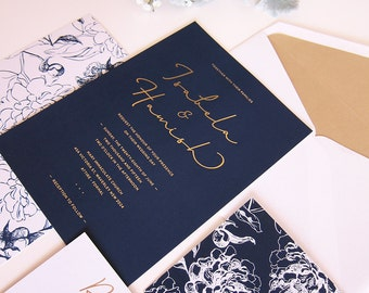 Navy and Gold Wedding Invitation - DEPOSIT