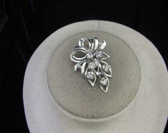 Vintage Rhinestone Floral Pin