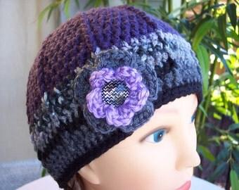 Woman's Crocheted Purple Beanie