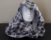 FI05: Fabric Infinity Scarf (Gray Plaid, Flannel) FREE SHIPPING