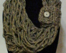 Brown Marble Open Weave Knitted Cowl Scarf with Button Closure