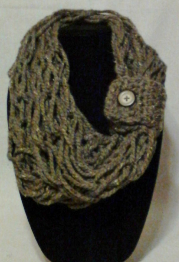 Items similar to Brown Marble Open Weave Knitted Cowl Scarf with Button Closu...