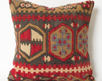 Kilim Pillow Cover Decorative Throw - Vintage Red Hand Embroidered Decorative Bohemian Home Decor Kilim Pillow Cover - Kilim Floor Pillow