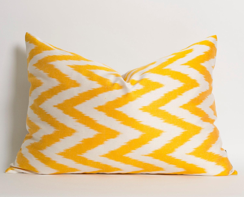 Yellow White Chevron Silk Ikat Pillow Cover Yellow Pillow