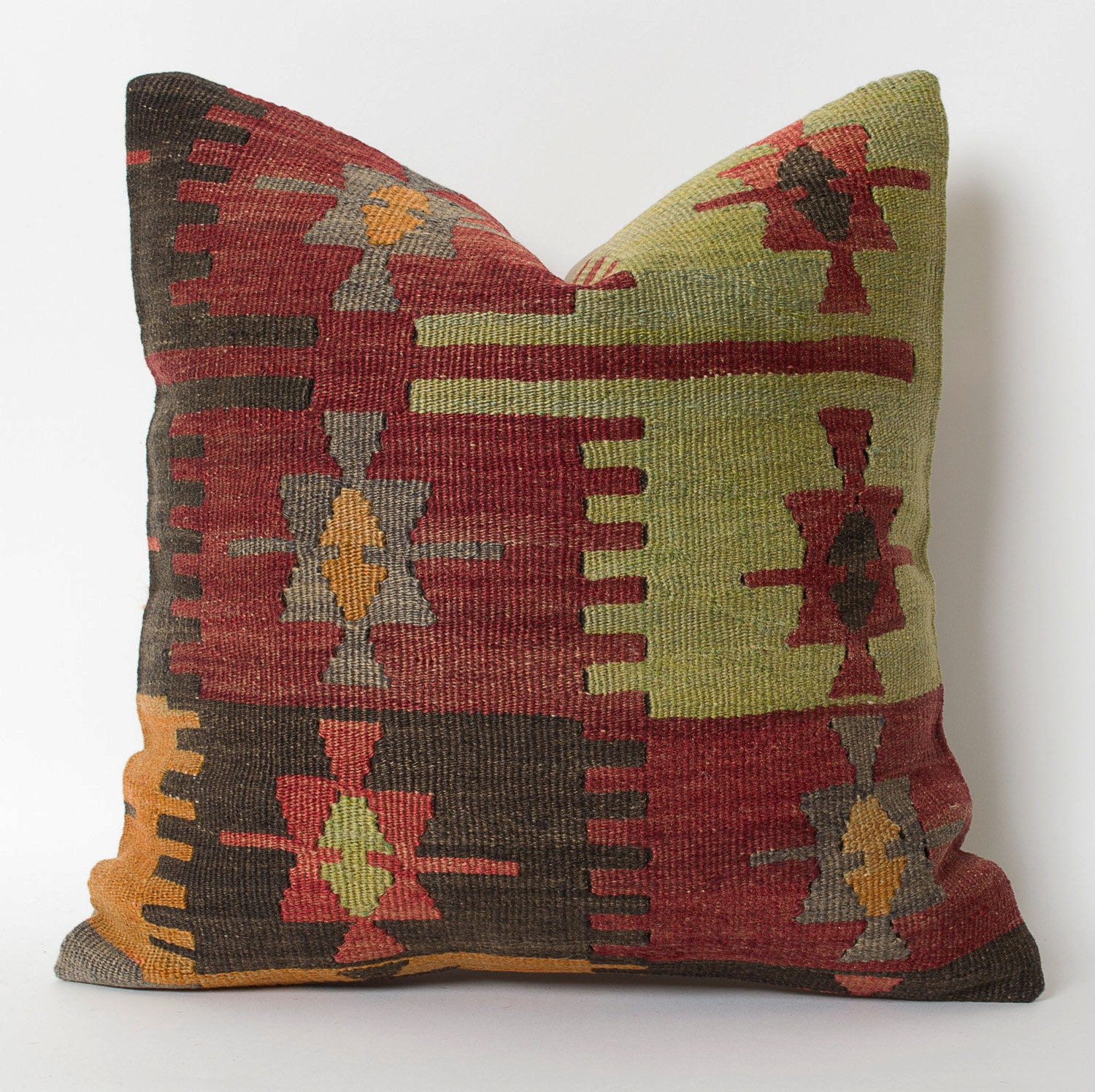 Modern Bohemian Throw Pillow Cover Handwoven Vintage Tribal