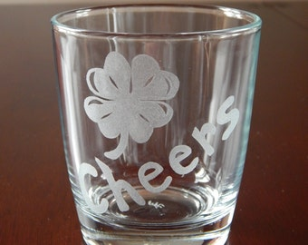 Four Leaf Clover Hand Etched Drinking Glass