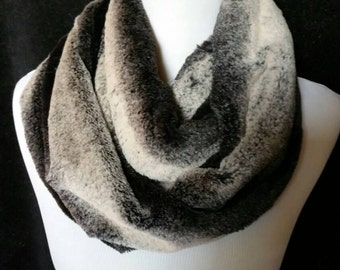 Black Frosted Chinchilla Faux Fur Infinity Scarf for Winter, Ski Slopes, Gift, Teacher Gift, Stocking Stuffer