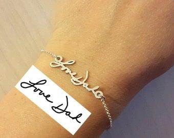 Personalized Signature Bracelet - Sterling Silver Handwriting Jewelry - Signature Jewelry - Handwritten Bracelet
