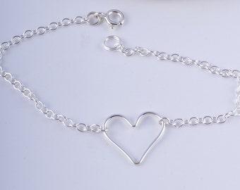 Sterling silver heart chain bracelet karma heart bracelet handmade