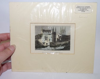 Vintage Lithograph/Print, Tavistock Abbey, Devon, England, Engraving by J Greig, From a painting by S Prout