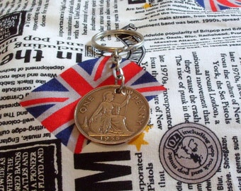 1938 1d 1d Old Penny English Coin Keyring Key Chain Fob King George VI