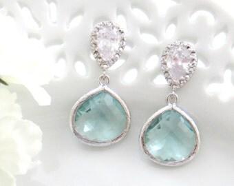 Aquamarine Dangle Earrings, Mother Earrings, Wedding Earrings, Bridesmaid Earrings, Dangle Earrings, Bridesmaid Gift, Gif for Best Friend