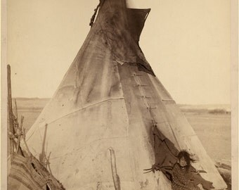 A young Oglala Indian girl sitting in front of a tipi, with a puppy (1891)-Photo Print