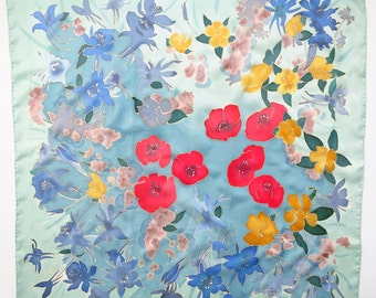 silk scarf Summer. Poppies flowers scarf Hand painted silk scarf red, yellow, blue painted silk. Batik hand painted scarf  Summer scarf