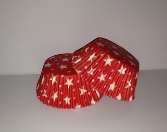 75 count Red with white stars standard size cupcake liners/baking cups