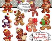 9 Vintage Shabby Retro Christmas Gingerbread Men Images Digital Download — Greeting Card Printable Ephemera