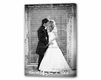Christmas Gift Idea. First Dance Lyrics. Custom Canvas Print. Your Wedding Photo with your Lyrics, Vows, Love Story.