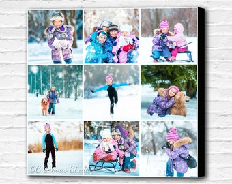 Photo collage canvas print. Personalized cotton canvas print. Birthday gift/Gift for girl/Gift for boy. Kids room decor. Custom canvas.