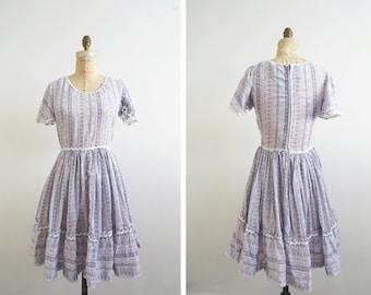 1960s Short Print Dress // Medium Flare Country Dress