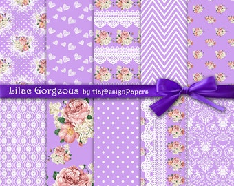"Purple digital paper : ""Lilac Gorgeous"" shabby chic digital paper with roses on purple background, lace digital paper, floral digital paper"
