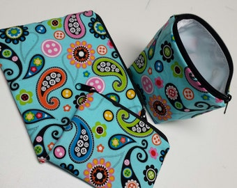 Reusable Sandwich Bag Set, Paisley, Gadget Bags, Washable, Charger Bags,Reusable Baggies,Make-Up Bags, Nylon Lining, Zipper Closure.