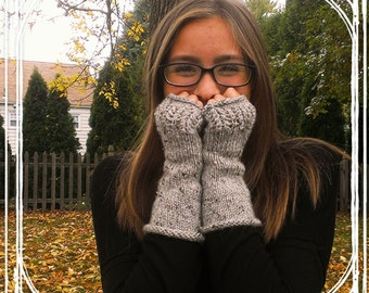 Long & Lacey Knit Fingerless Gloves