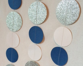 Blue/white/silver paper garland