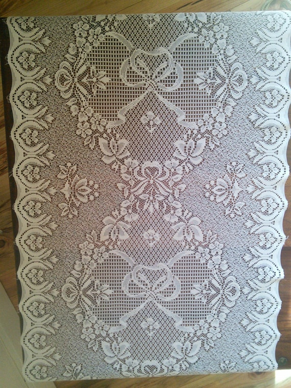 pair lace curtains french vintage panels cream floral