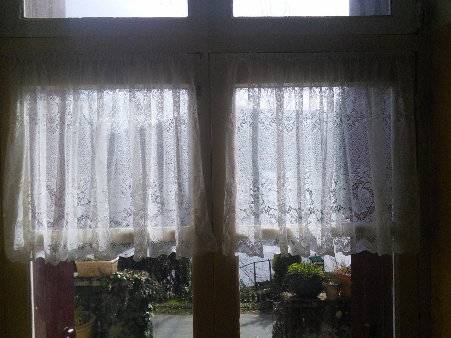 Lace curtains french vintage cafe butterfly pattern