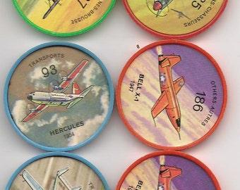 Sparse vintage set of (10) Jello Hostess Aircraft Token coins.