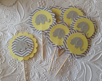 12 Light Yellow and Grey Chevron Elephant Cupcake Toppers-Toothpicks-Food Picks-Party Picks-Neutral Baby Shower