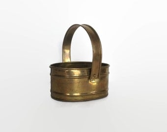 Brass basket vintage oval metal container with handle made in India