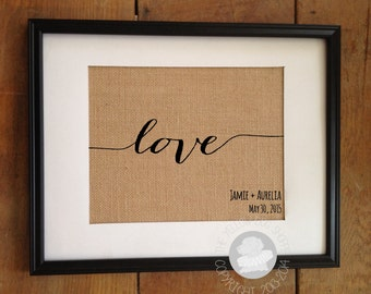 Love Burlap Art | Valentine's Day Gift | Personalized Wedding Date and Couple's Names | Wedding Anniversary Gift | Frame not included