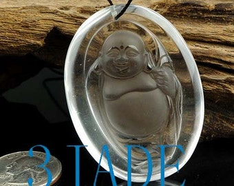 Natural Clear Rock Crystal Quartz Buddha Amulet Pendant Talisman -G028037