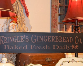 Kringle's Gingerbread Co. Wood Sign