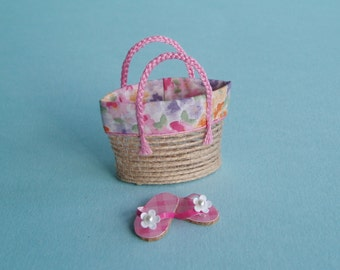 Straw Beach Bag or Tote with Pink Flip Flops, 1:12 or 1/12 Scale Dollhouse Miniatures, Pink Floral Trim for Beach, Store, Shop, Vacation